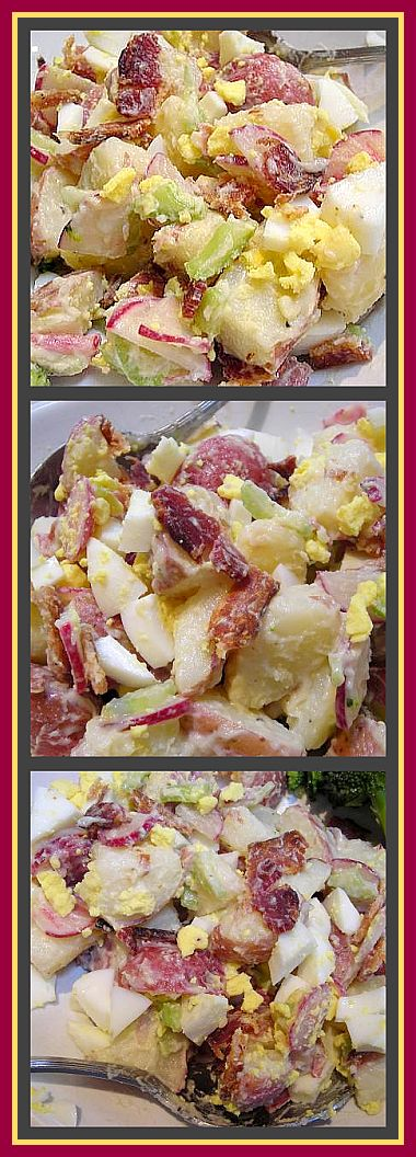 moms potato salad collage